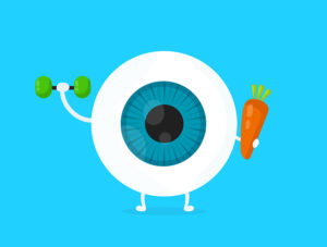 graphic of an eyeball holding weight and carrot