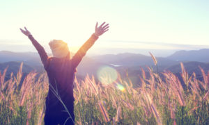 Happy Woman Enjoying Nature on grass meadow on top of mountain cliff with sunrise