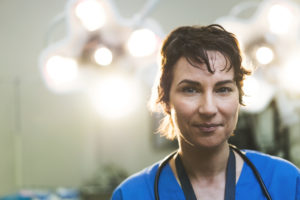 confident female doctor working