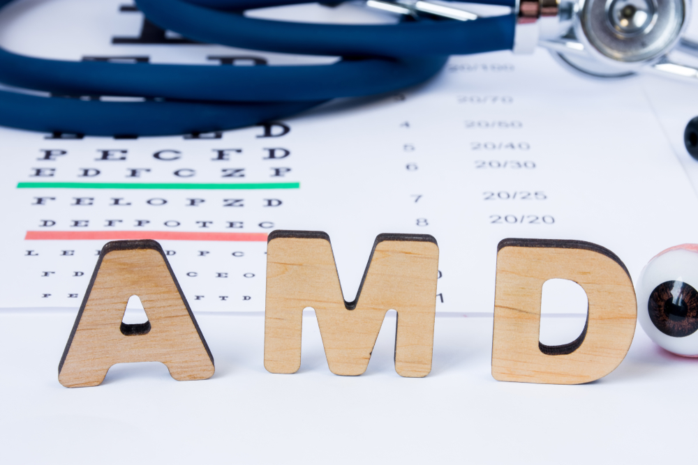 Wooden letters reading AMD