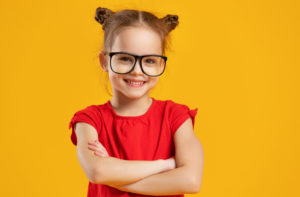 young girl with fashionable glasses