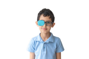 child with eyepatch for ambylopia