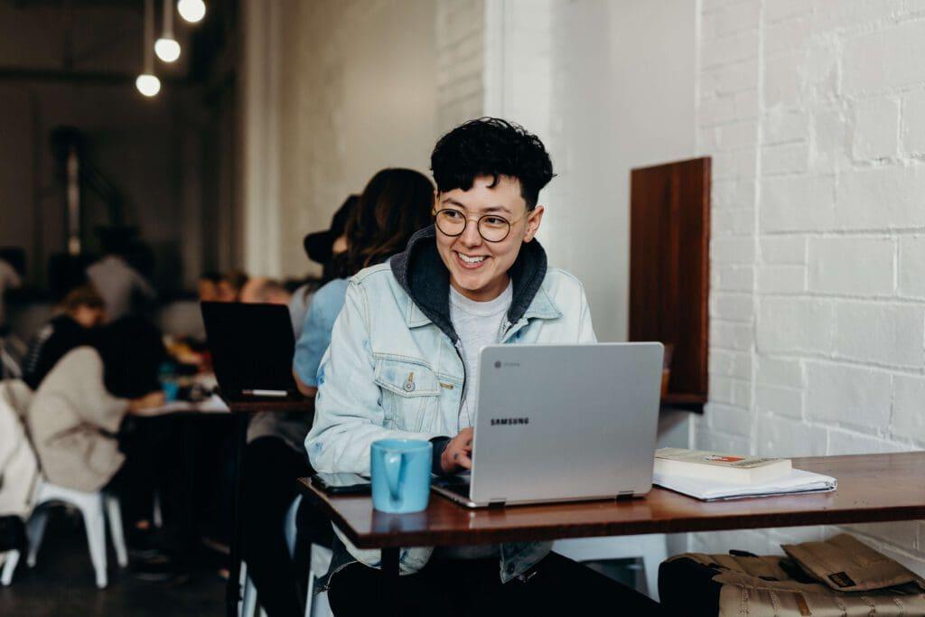 young man at a laptop